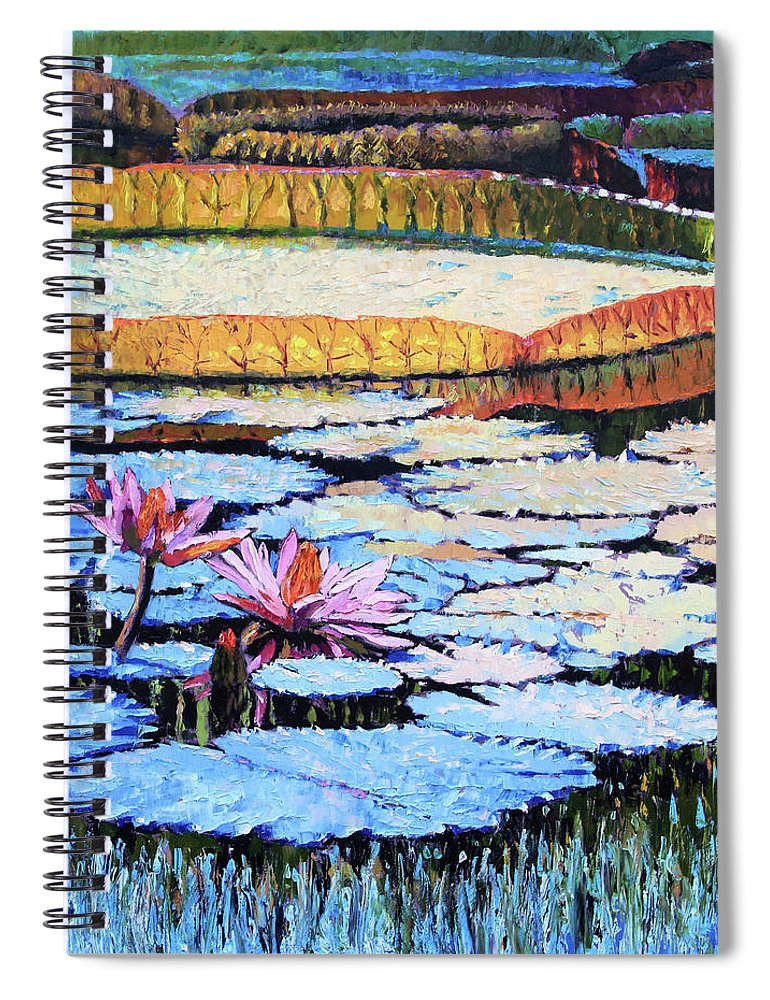 Water Lilies Spiral Notebook featuring the painting Golden Light on Lilies by John Lautermilch