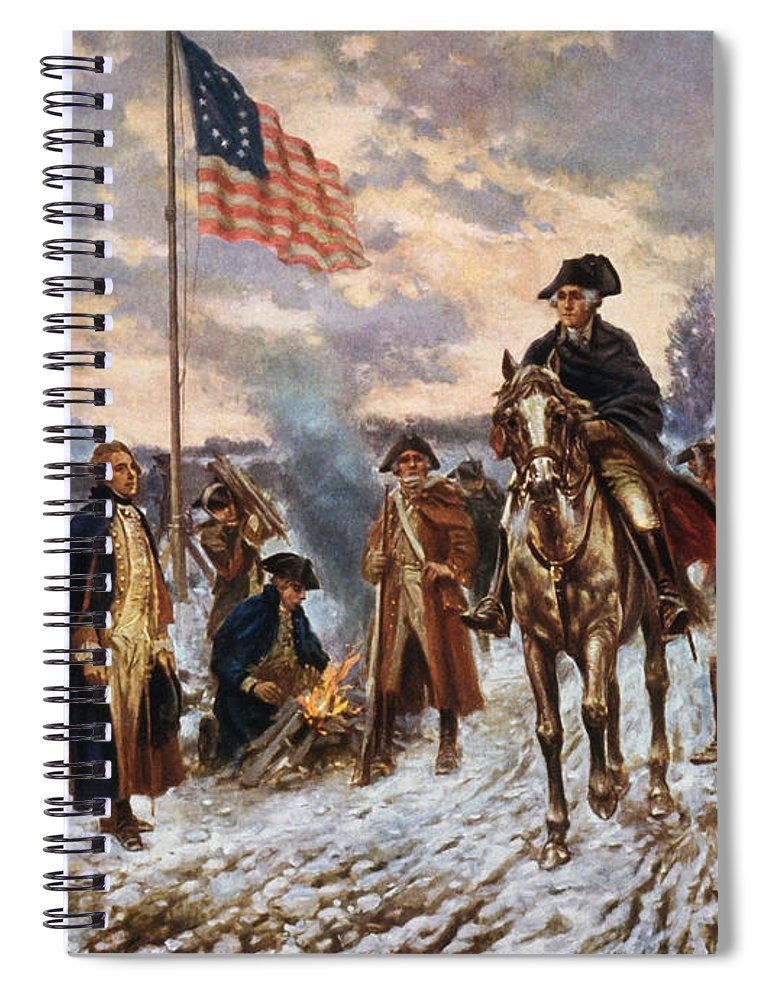 George Washington Spiral Notebook featuring the painting Washington at Valley Forge by War Is Hell Store