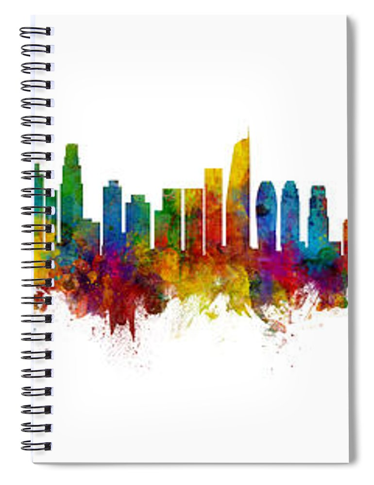 Buenos Aires Spiral Notebook featuring the digital art Washington Dc, Los Angeles And Buenos Aires Skyline Mashup by Michael Tompsett