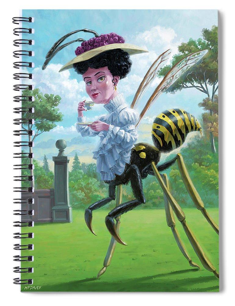 Wasp Spiral Notebook featuring the digital art Wasp Woman Insect Drinking Tea Fantasy by Martin Davey