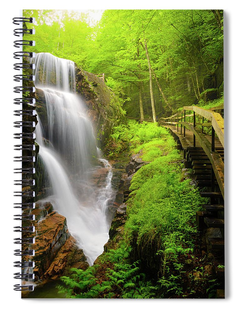 Steps Spiral Notebook featuring the photograph Water Falls In The Flume by Noppawat Tom Charoensinphon