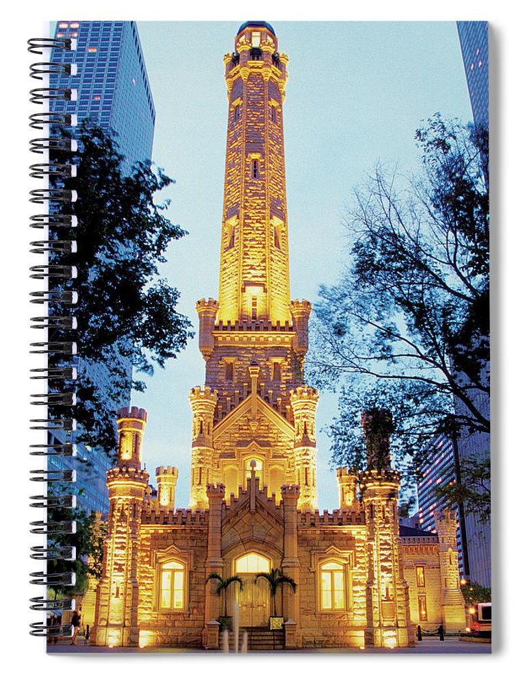 Travel16 Spiral Notebook featuring the photograph Water Tower At Night In Chicago by Medioimages/photodisc