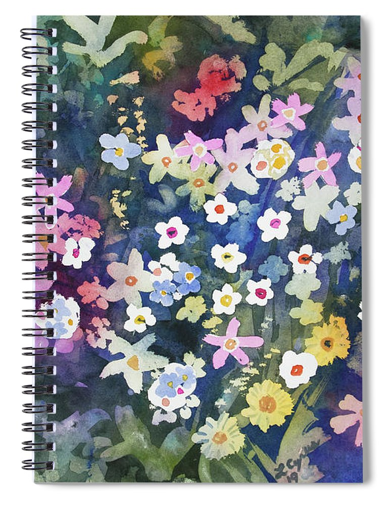 Alpine Spiral Notebook featuring the painting Watercolor - Alpine Wildflower Design by Cascade Colors