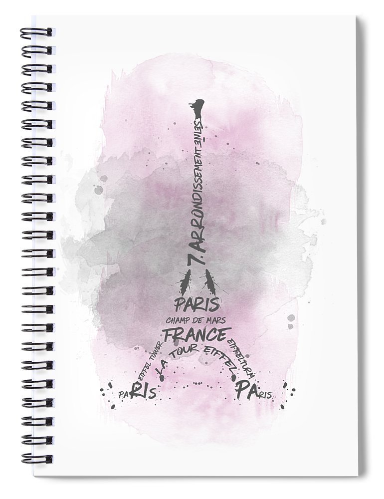 Paris Spiral Notebook featuring the digital art Watercolor Art Eiffel Tower - pink by Melanie Viola