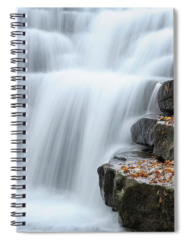 Steps Spiral Notebook featuring the photograph Waterfall Flowing Over Rock Stair by Catnap72