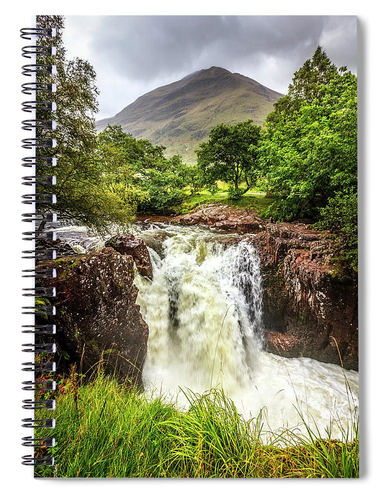 Clouds Spiral Notebook featuring the photograph Waterfall Under The Mountain by Debra and Dave Vanderlaan