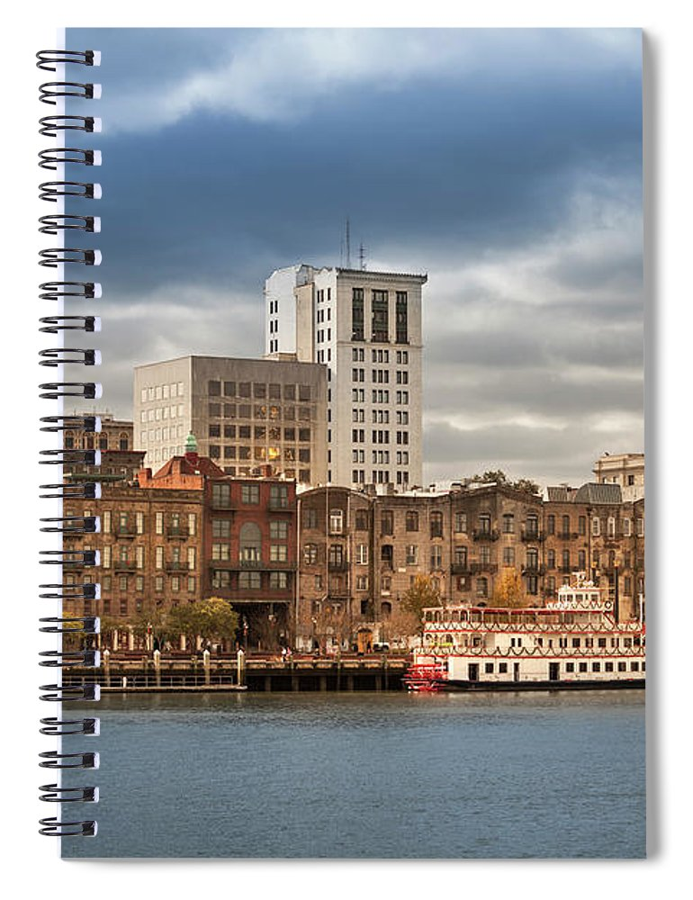 Scenics Spiral Notebook featuring the photograph Waterfront Skyline Of Savannah Georgia by Pgiam