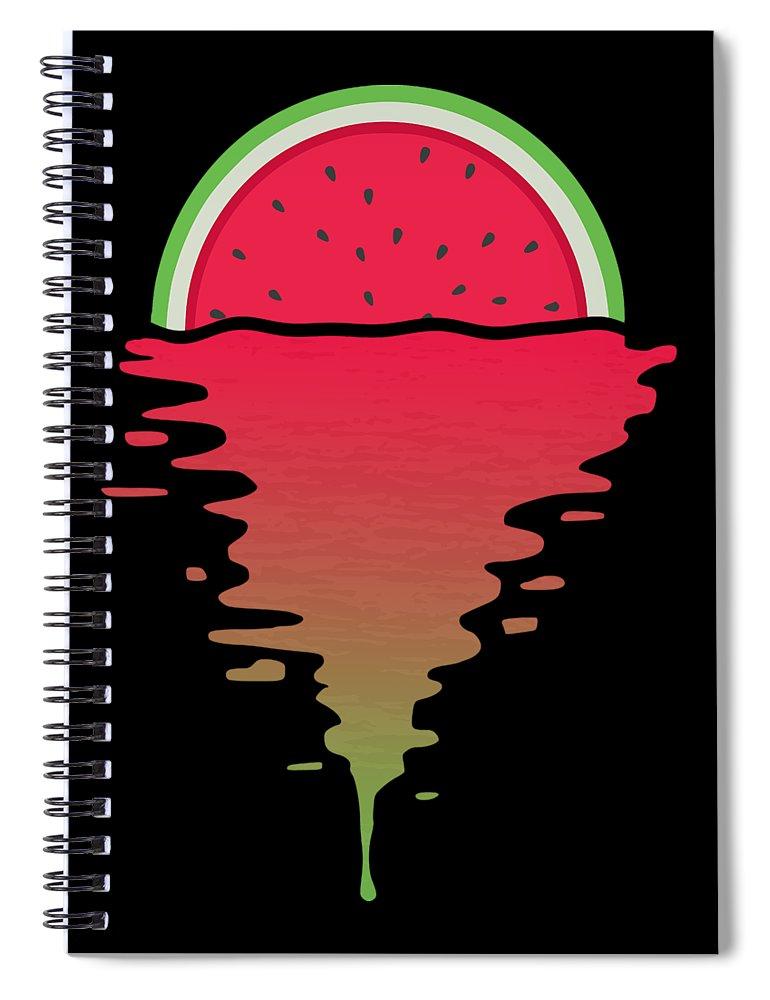 Watermelon Spiral Notebook featuring the digital art Watermelon Sunset by Filip Schpindel