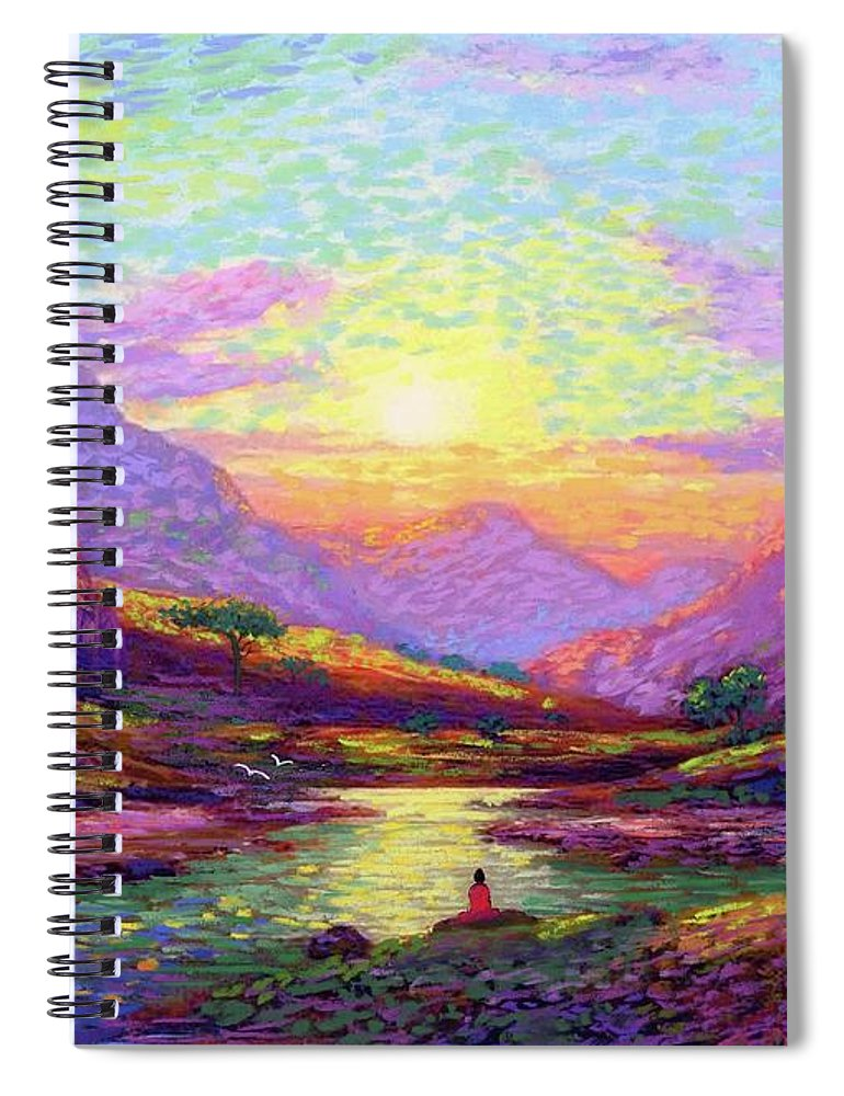 Meditation Spiral Notebook featuring the painting Waves Of Illumination by Jane Small