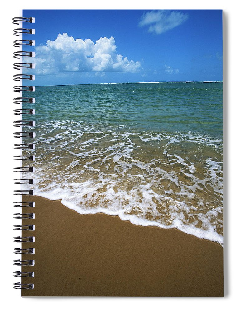 Water's Edge Spiral Notebook featuring the photograph Waves Washing Onto White Sandy Beach by Luis Veiga