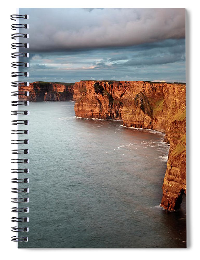 Scenics Spiral Notebook featuring the photograph Waves Washing Up On Rocky Cliffs by George Karbus Photography
