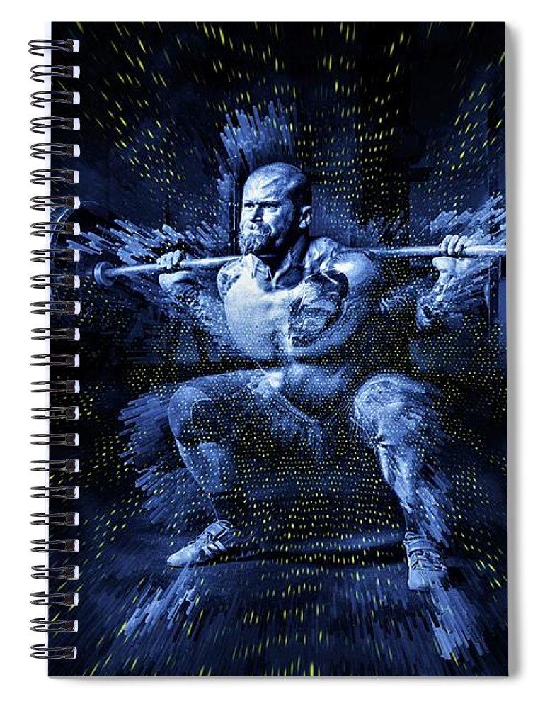 Weightlifting Spiral Notebook featuring the digital art Weight Lifting by ArtMarketJapan