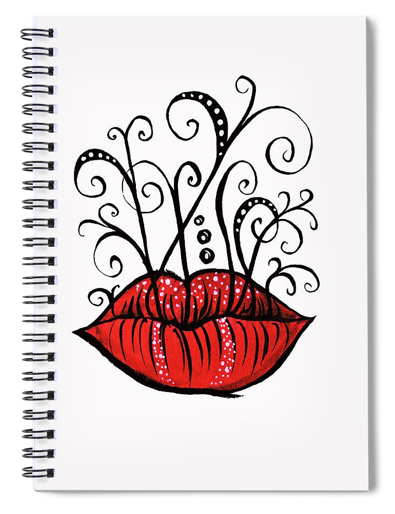 Weird Spiral Notebook featuring the drawing Weird Lips Ink Drawing Tattoo Style by Boriana Giormova