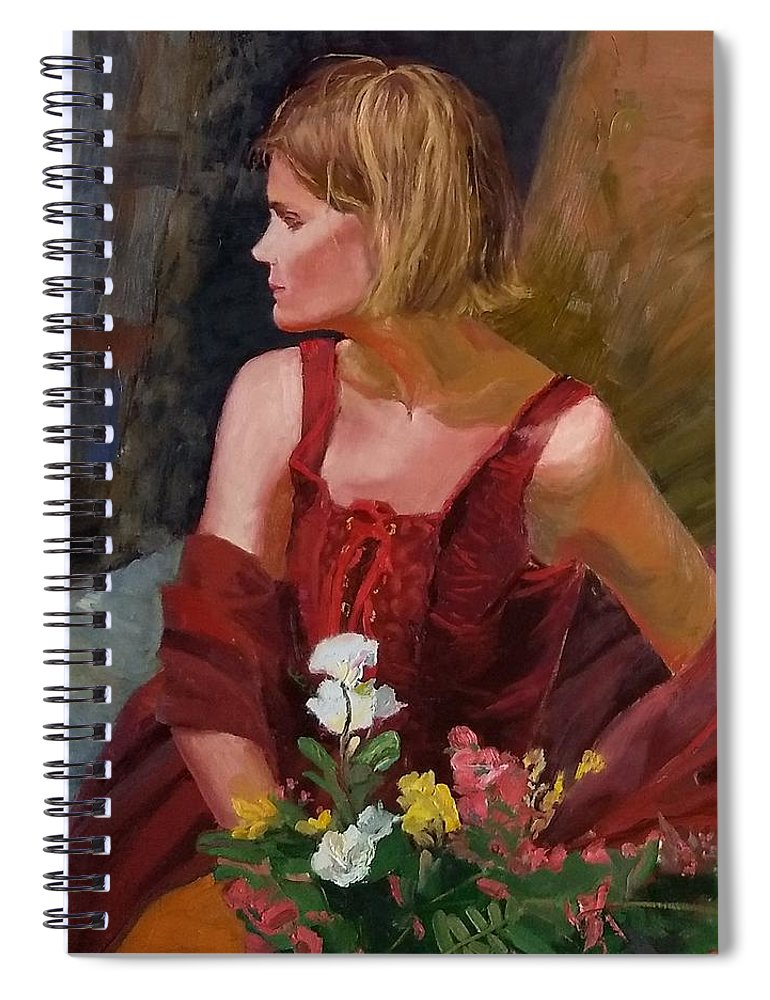Girl Spiral Notebook featuring the painting SOLD What About My Flowers by Irena Jablonski