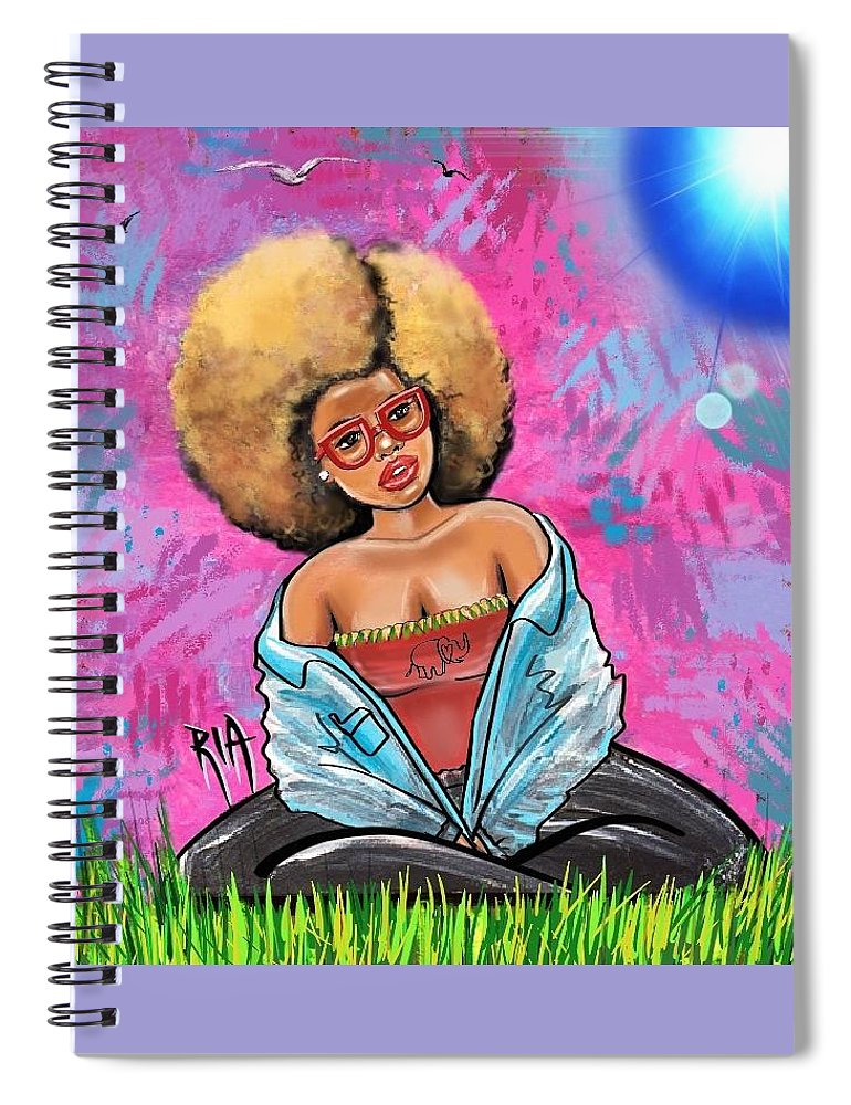 Sun Spiral Notebook featuring the painting What if the Sun was Blue... Would it change the way I Look at you by Artist RiA