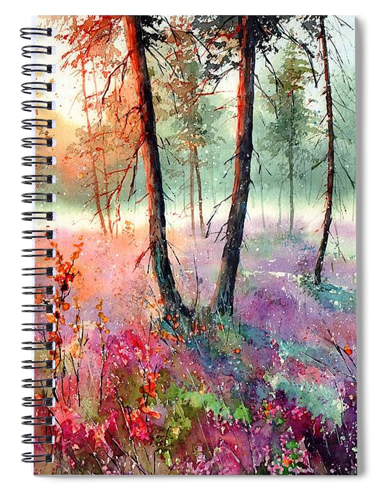 Wild Spiral Notebook featuring the painting When Heathers Bloom by Suzann Sines