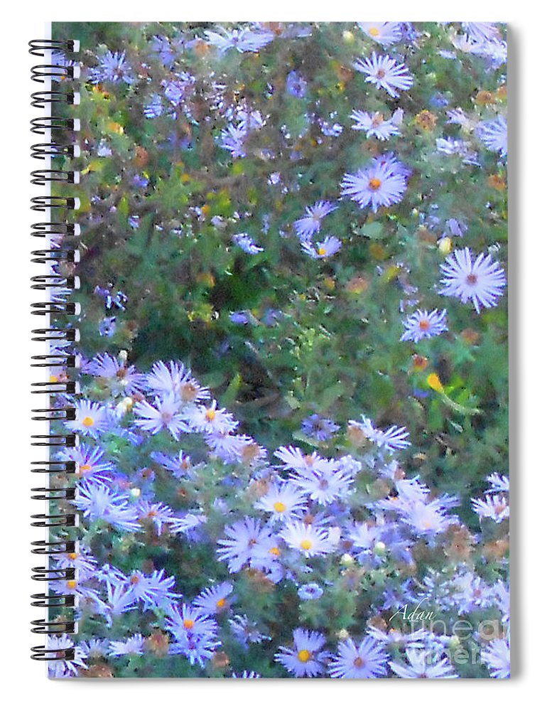 Blue Flowers Spiral Notebook featuring the photograph White Blue Cluster Square by Felipe Adan Lerma