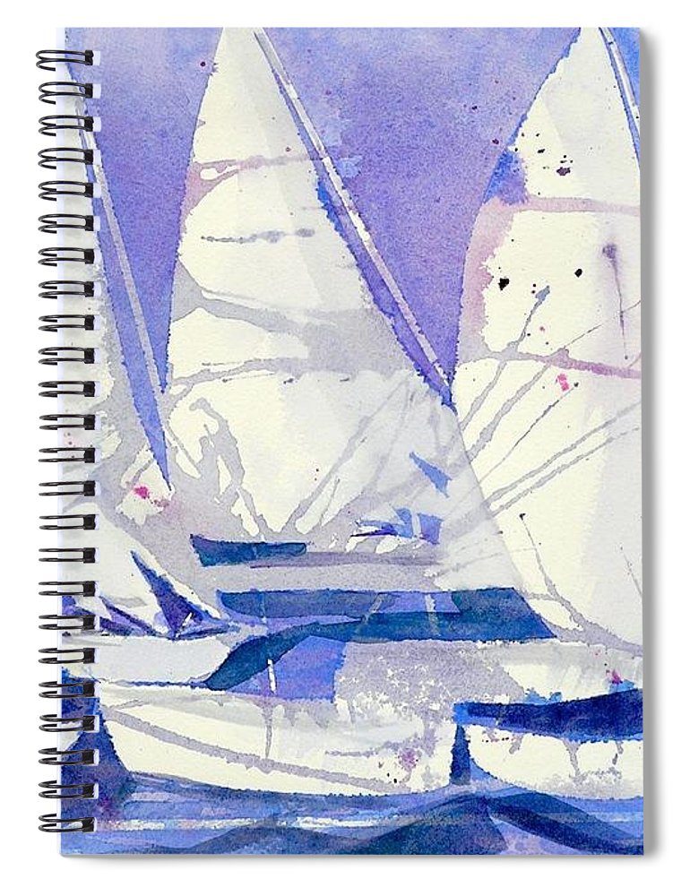 Sailboats Spiral Notebook featuring the painting White Sails by Midge Pippel