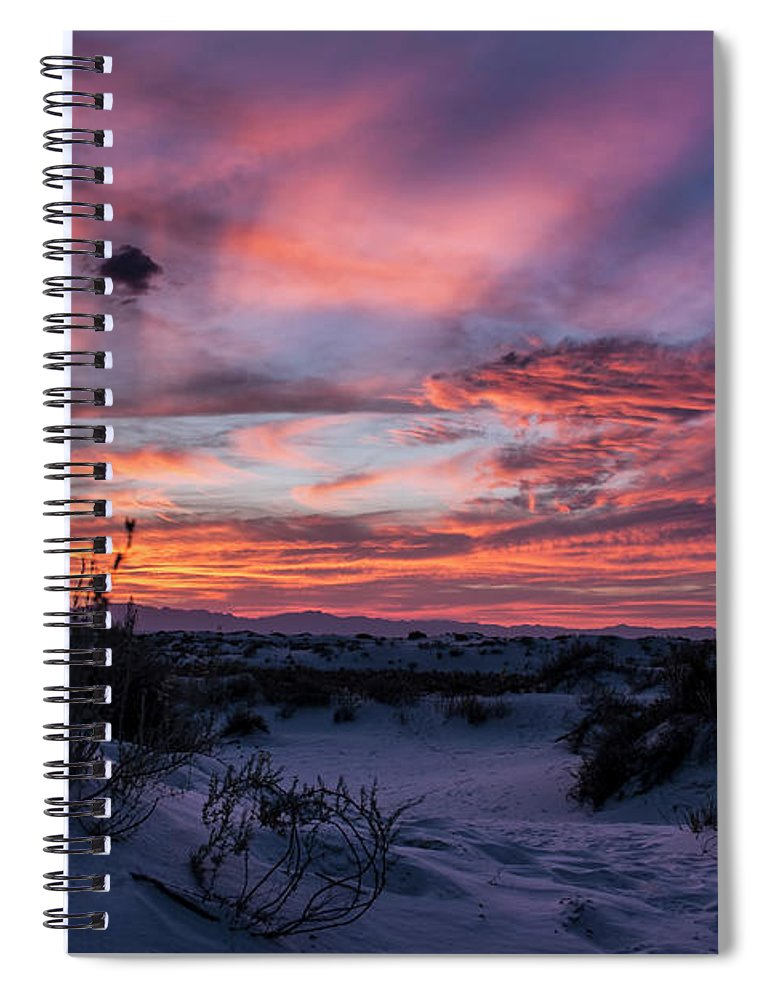 Spiral Notebook featuring the photograph White Sand Sunset by Francis Lavigne-Theriault