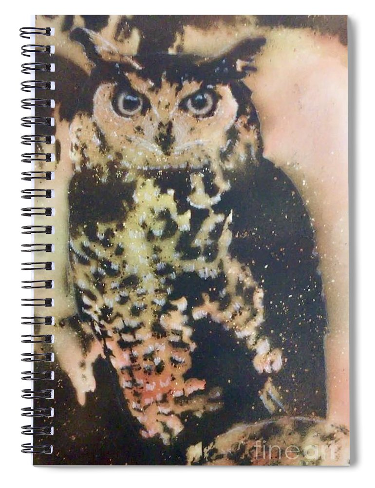 Gunpowder Spiral Notebook featuring the pyrography Who? by Brandi Pfleider