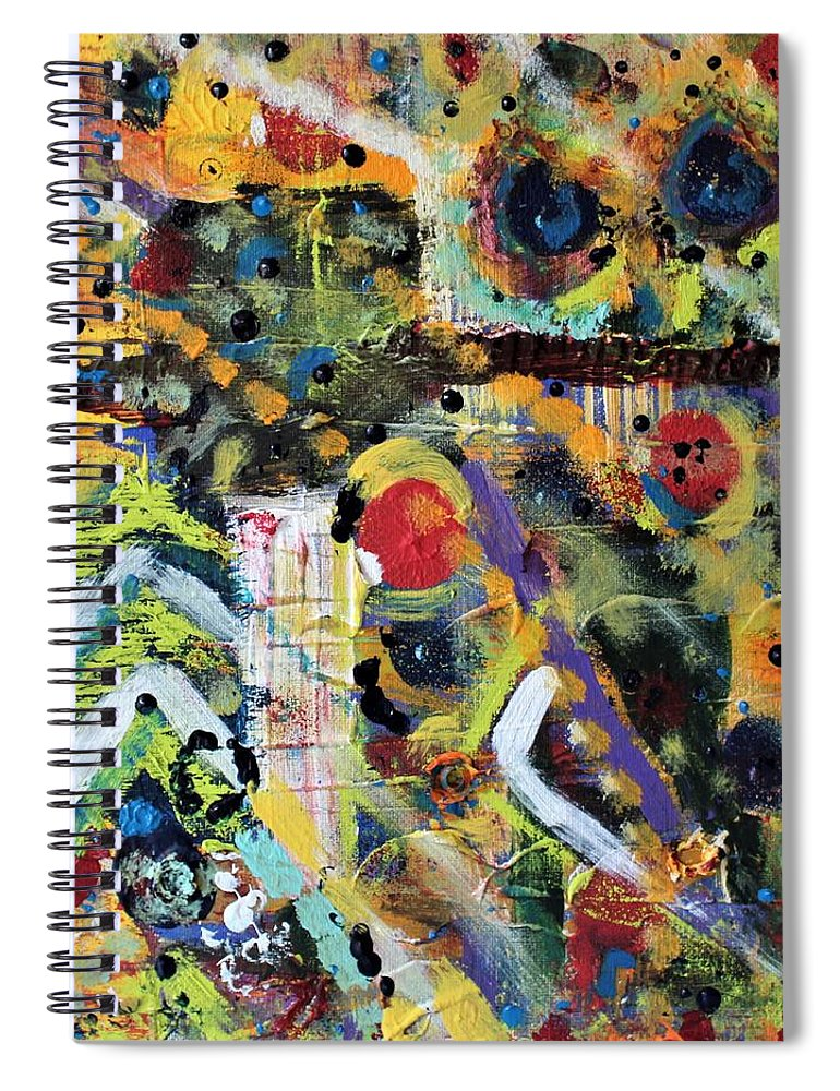 Nature Spiral Notebook featuring the painting Who What Where by Pam Roth O'Mara