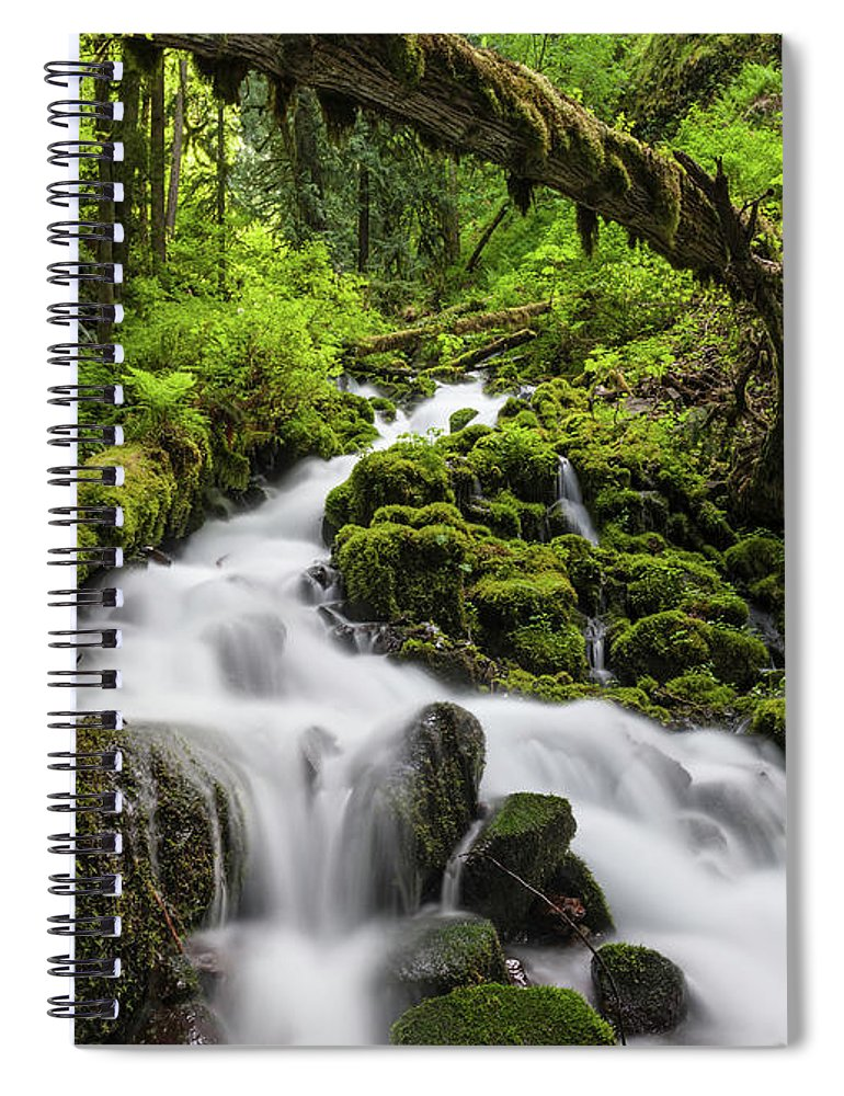 Scenics Spiral Notebook featuring the photograph Wild Forest Waterfall Idyllic Green by Fotovoyager
