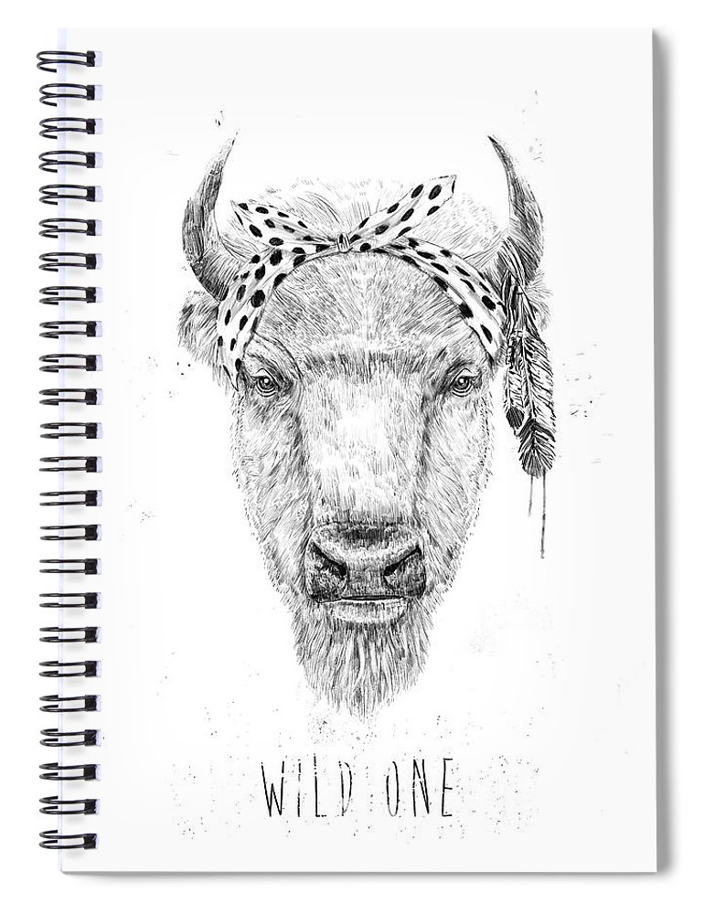 Bull Spiral Notebook featuring the mixed media Wild One by Balazs Solti