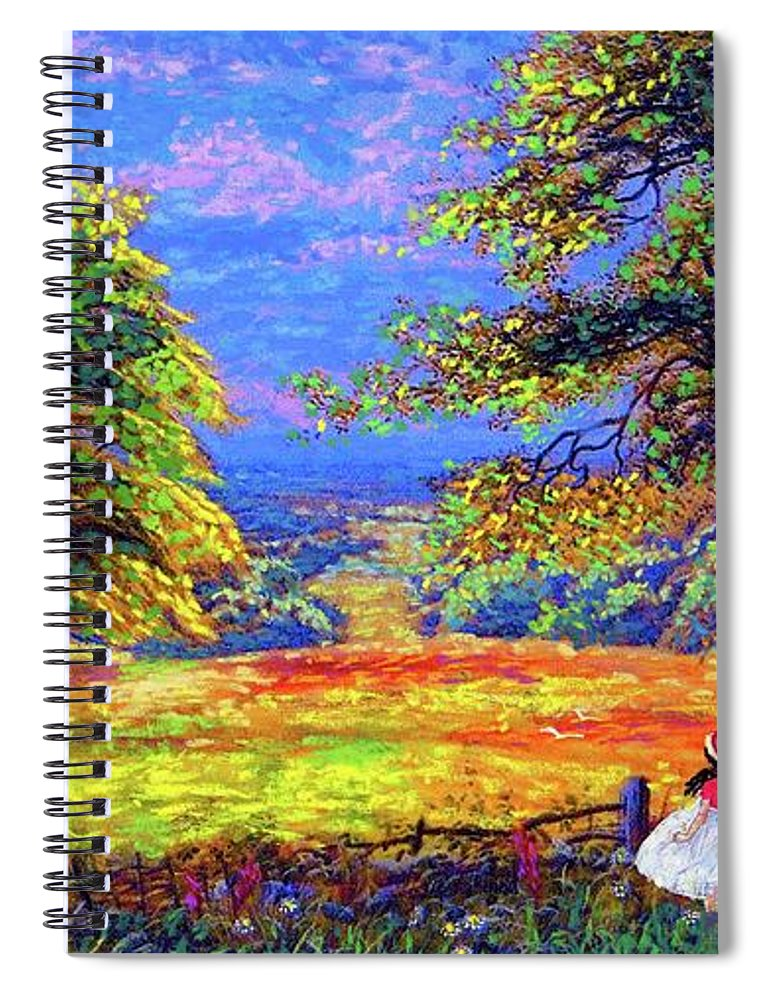Wildflower Spiral Notebook featuring the painting Wildflower Fields by Jane Small