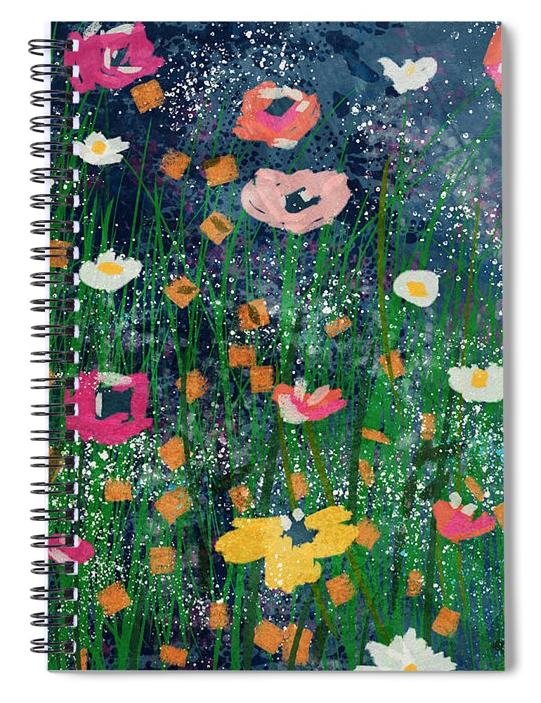 Flowers Spiral Notebook featuring the mixed media Wildflowers 2- Art By Linda Woods by Linda Woods