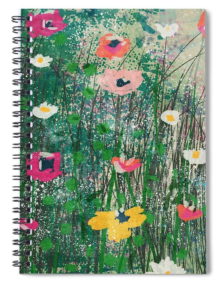 Wildflowers Spiral Notebook featuring the mixed media Wildflowers- Art By Linda Woods by Linda Woods