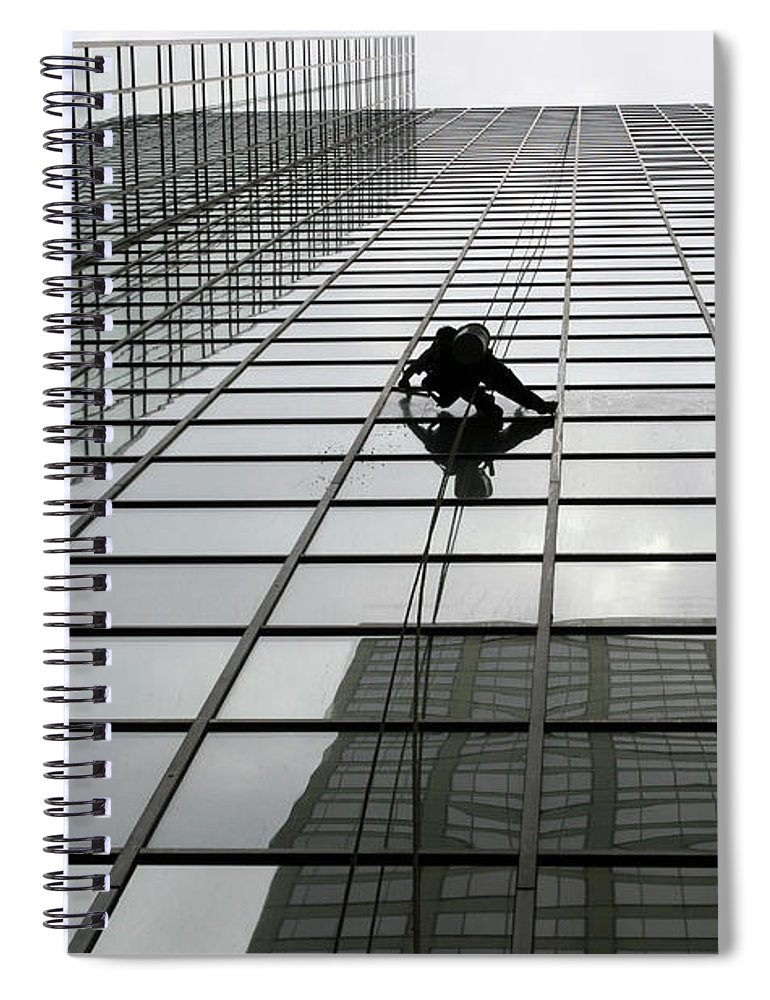 Working Spiral Notebook featuring the photograph Window Washer by Filo