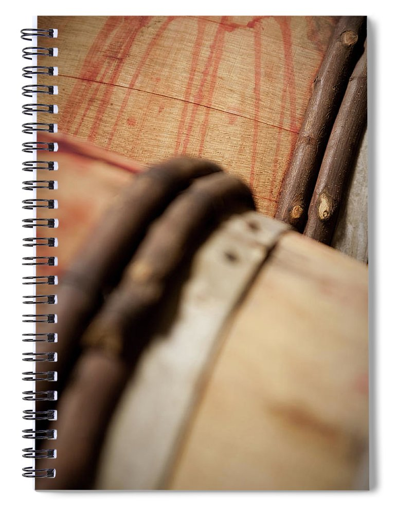 Fermenting Spiral Notebook featuring the photograph Wine Barrels by Chrispecoraro