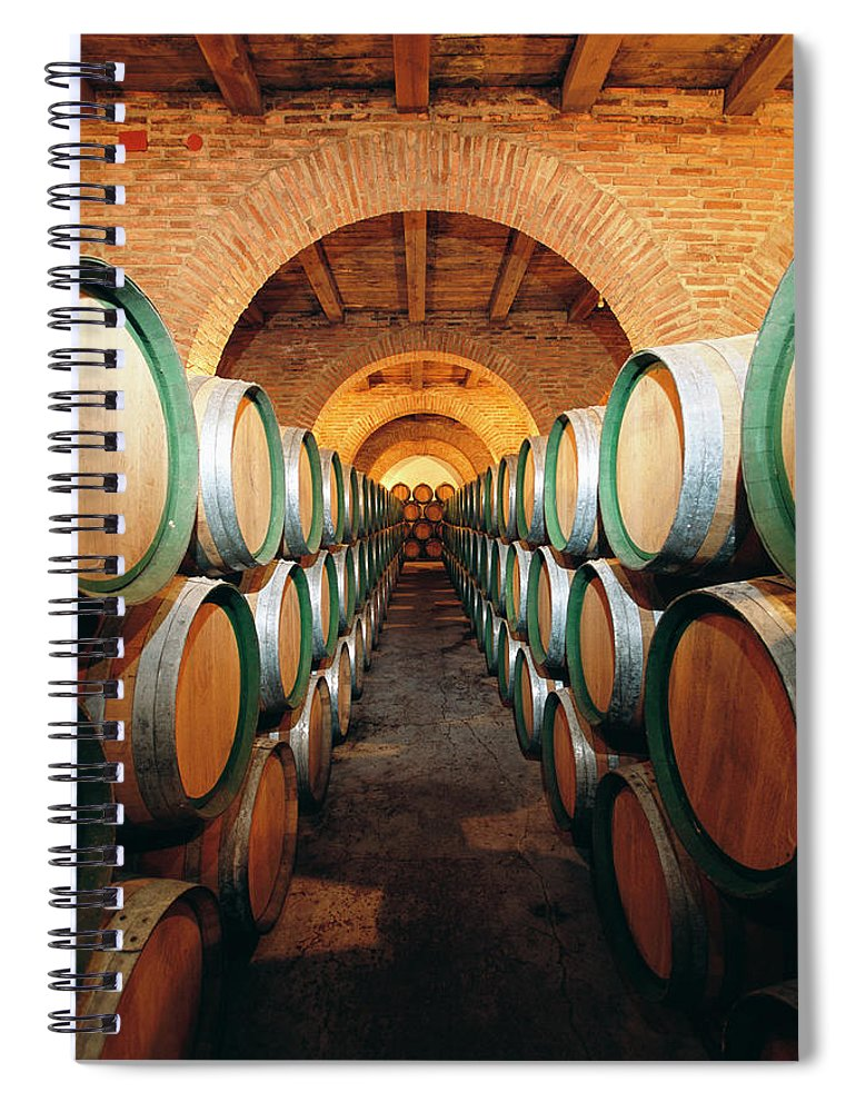 Working Spiral Notebook featuring the photograph Wine Barrels In Cellar, Spain by Johner Images