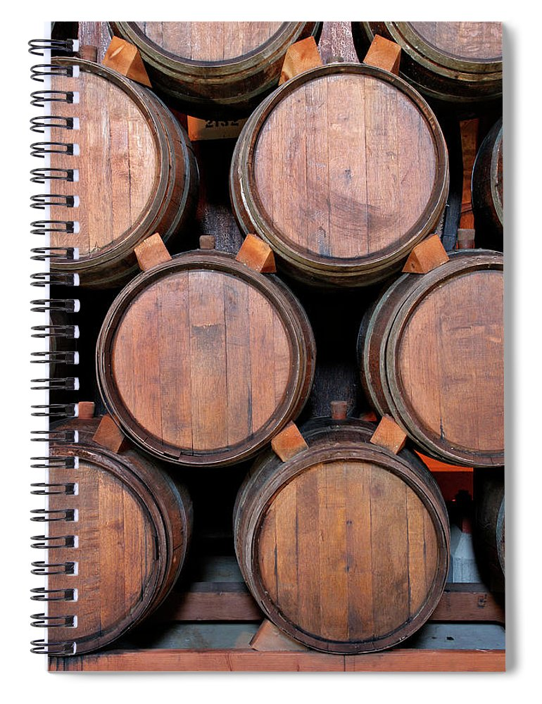 Fermenting Spiral Notebook featuring the photograph Wine Barrels Stacked Inside Winery by Yinyang
