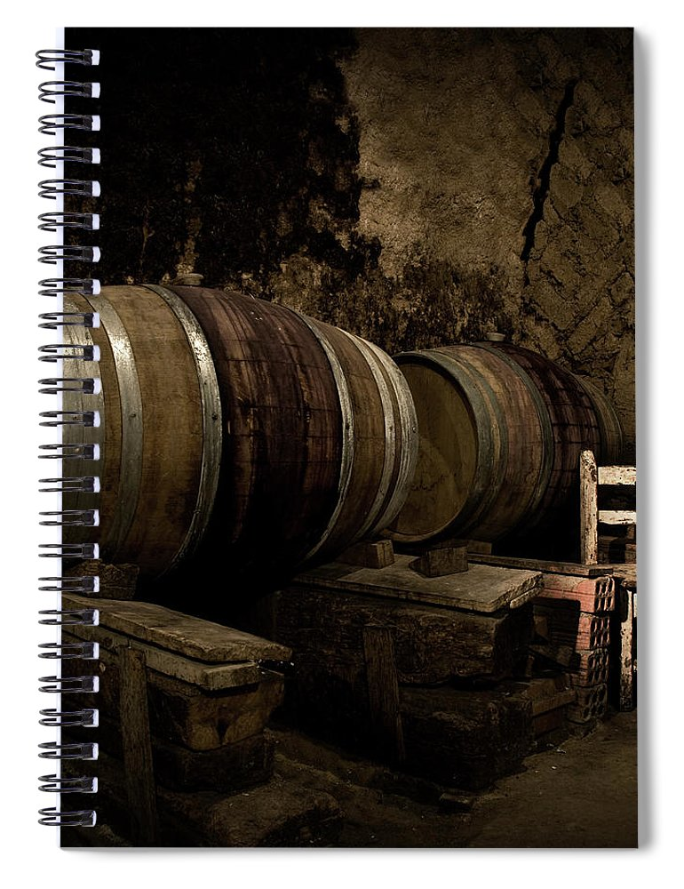 Fermenting Spiral Notebook featuring the photograph Wine Cellar by Fotografias De Rodolfo Velasco