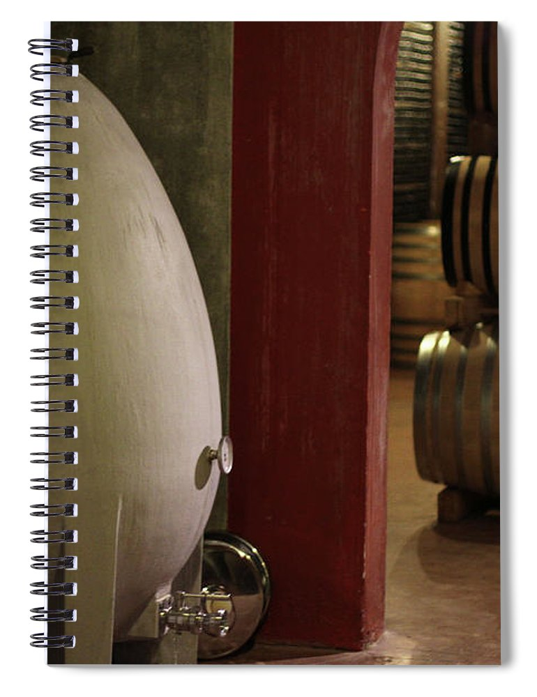 Aging Process Spiral Notebook featuring the photograph Wine Cellar by Tom And Steve