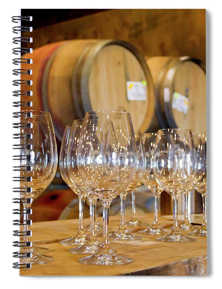Alcohol Spiral Notebook featuring the photograph Wine Tasting Room by Creativeye99