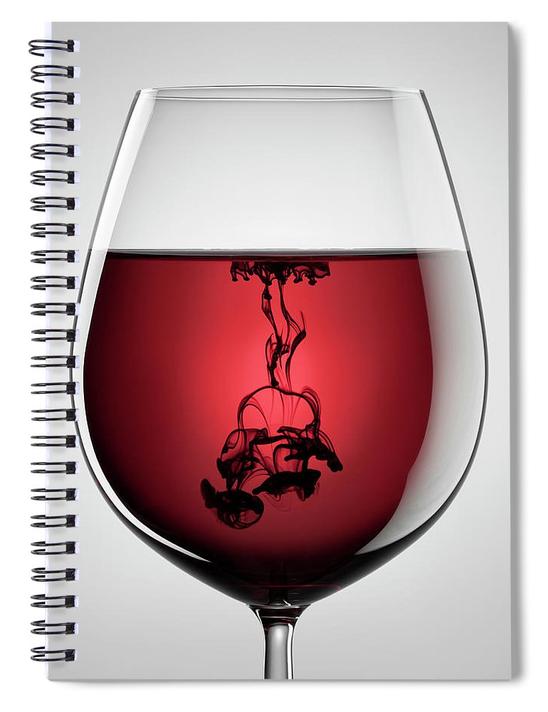 Shadow Spiral Notebook featuring the photograph Wineglass, Red Wine And Black Ink by Thomasvogel