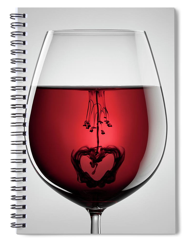 Mixing Spiral Notebook featuring the photograph Wineglass, Red Wine, Black Ink And by Thomasvogel