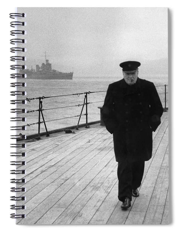 Winston Churchill Spiral Notebook featuring the photograph Winston Churchill At Sea by War Is Hell Store
