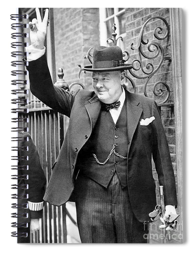 Churchill Spiral Notebook featuring the photograph Winston Churchill Showing The V Sign by English School