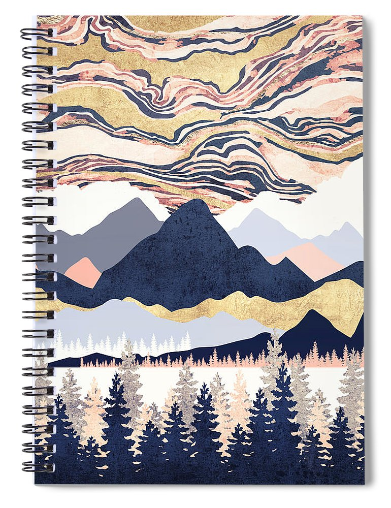 Winter Spiral Notebook featuring the digital art Winter's Sky by Spacefrog Designs