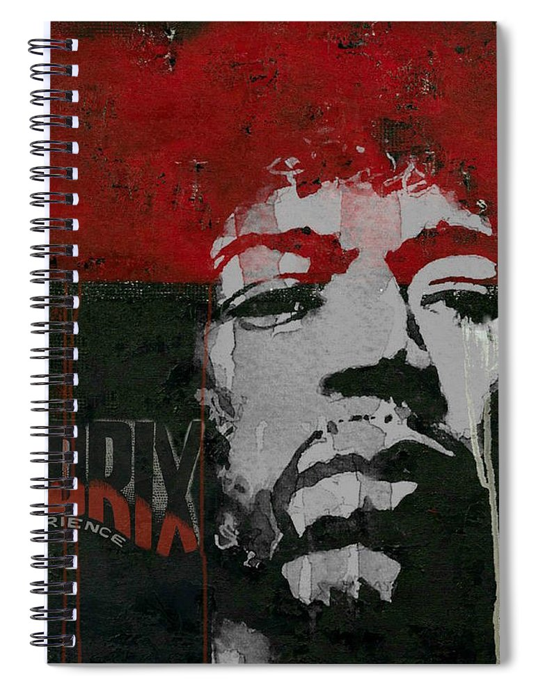 Jimi Hendrix Spiral Notebook featuring the mixed media With A Circus Mind That's Running Wild - Jimi Hendrex by Paul Lovering