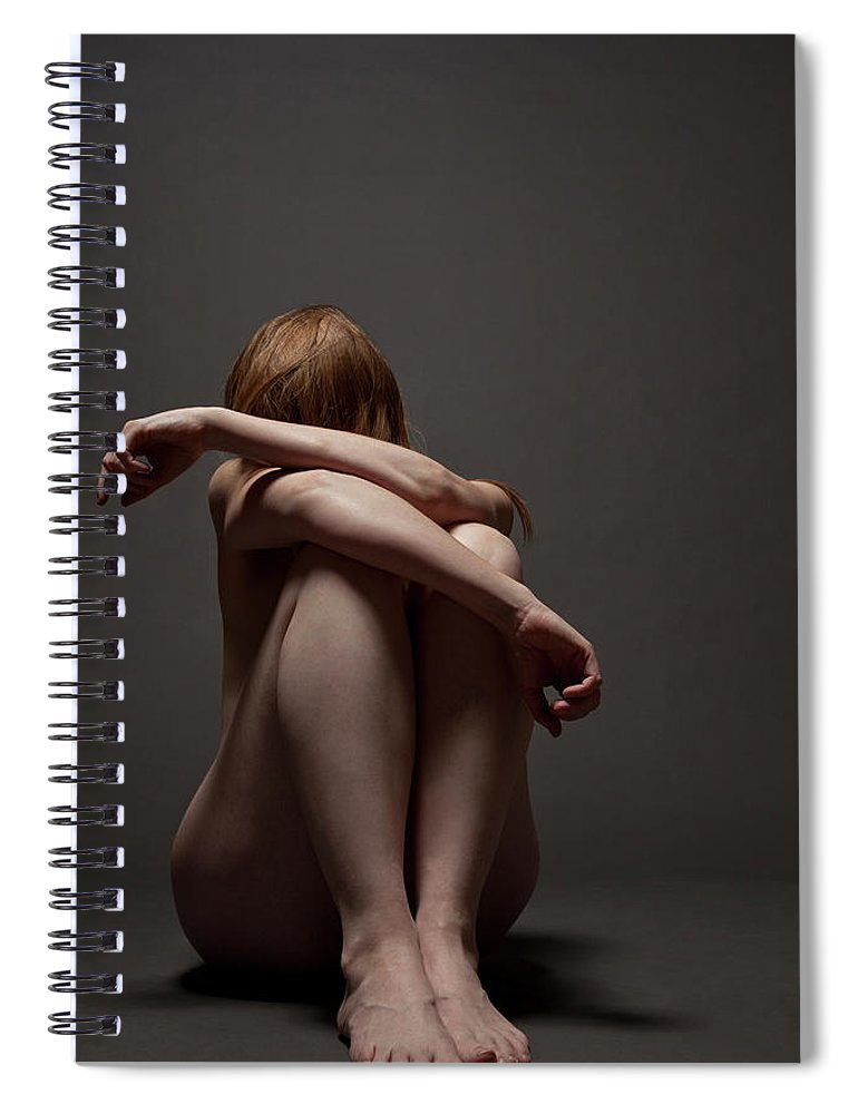 People Spiral Notebook featuring the photograph Woman Crouched On Floor by Claudia Burlotti