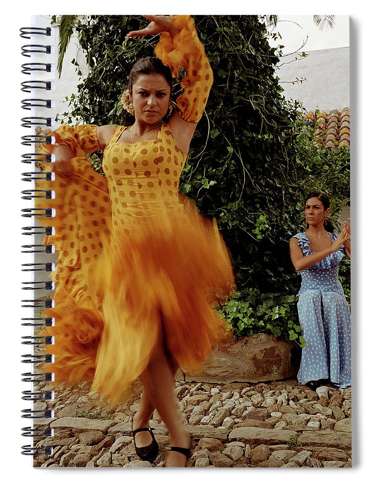 Blurred Motion Spiral Notebook featuring the photograph Woman Flamenco Dancer, Outdoors by Tim Macpherson