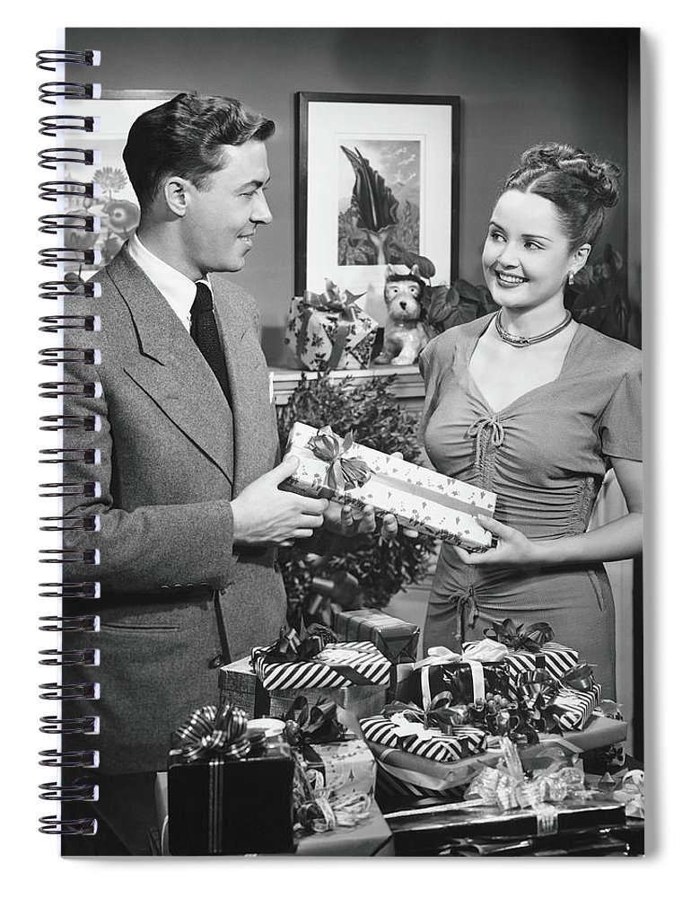 Heterosexual Couple Spiral Notebook featuring the photograph Woman Giving Gift To Man, B&w by George Marks