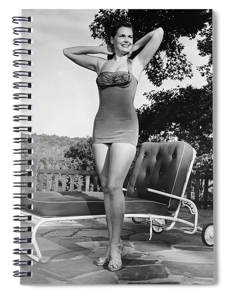 People Spiral Notebook featuring the photograph Woman In Bathing Suit Outdoors by George Marks