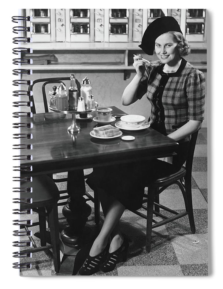 Breakfast Spiral Notebook featuring the photograph Woman In Fancy Hat Eating Breakfast In by George Marks