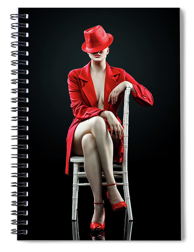 Woman Spiral Notebook featuring the photograph Woman in red by Johan Swanepoel