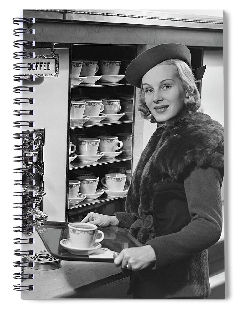 People Spiral Notebook featuring the photograph Woman Wcoffee On Tray by George Marks